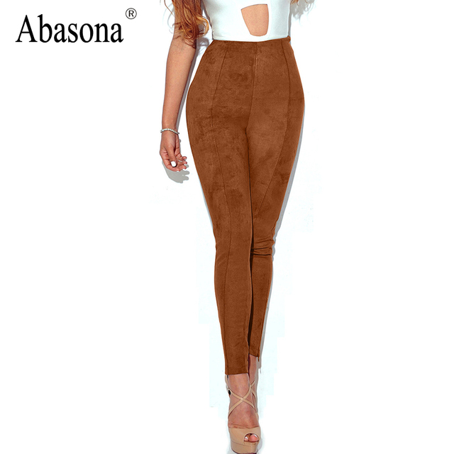 Abasona Suede thick high waist pencil pants capris Fashion streetwear casual pants leggings Autumn skinny pants trousers