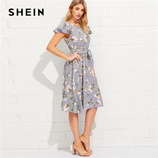 SHEIN Tie Neck Ruffle Hem Calico Dress 2018 Summer Fit and Flare Short Dress Women  Cap Sleeve A Line Floral Vacation Dress 2