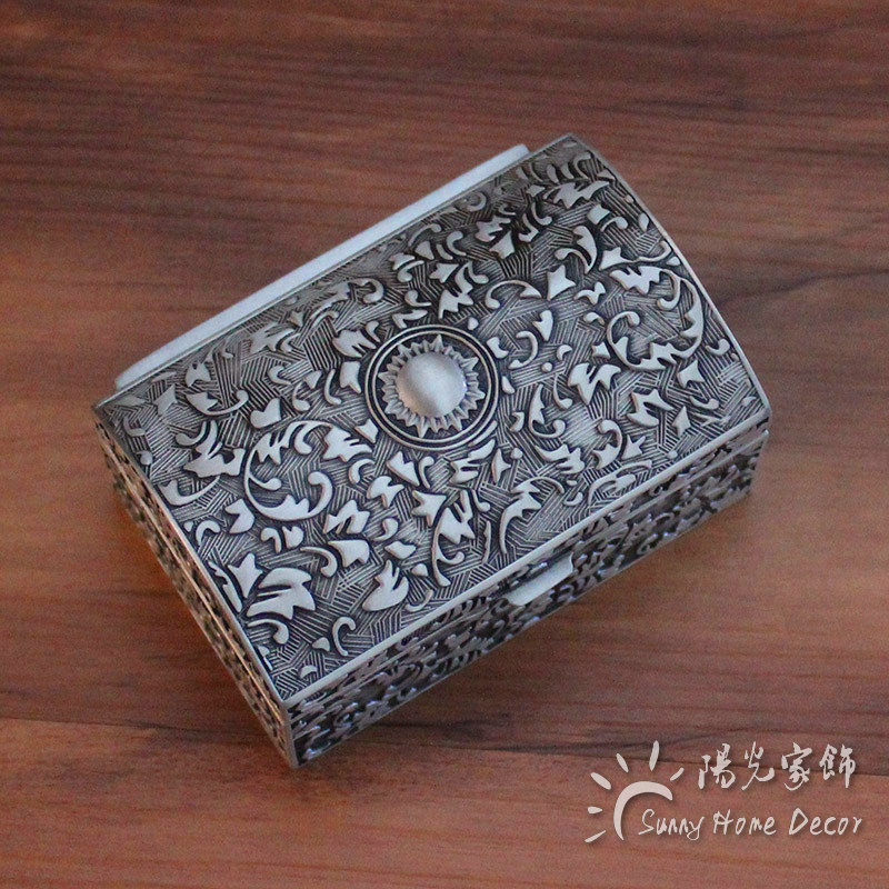 New Fashion Metal Jewelry Case SMALL size Trinket Box Vintage Flower