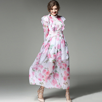 UNIQUEWHO Girls Women Sweet Silk Dress Elegant Ruffles Pink Flowers Printed Dress Ankle Length Prom Party