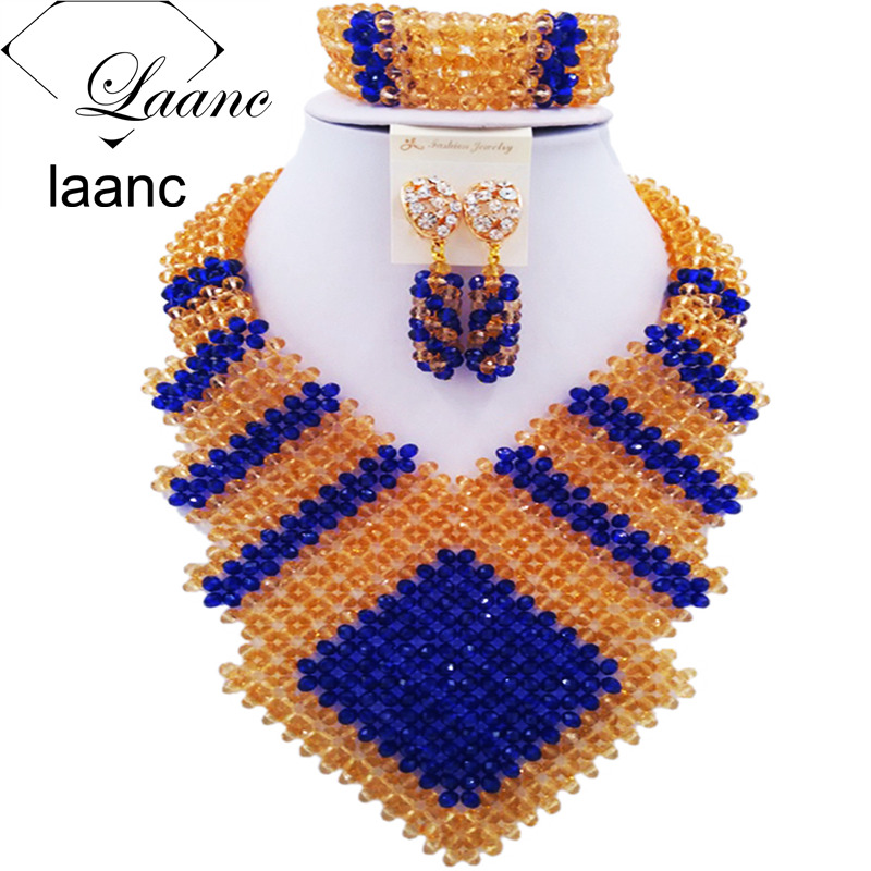 Laanc 2017 Royal Blue and Gold Nigerian Wedding Necklace African Beads Jewelry Set for Women FK001Laanc 2017 Royal Blue and Gold Nigerian Wedding Necklace African Beads Jewelry Set for Women FK001
