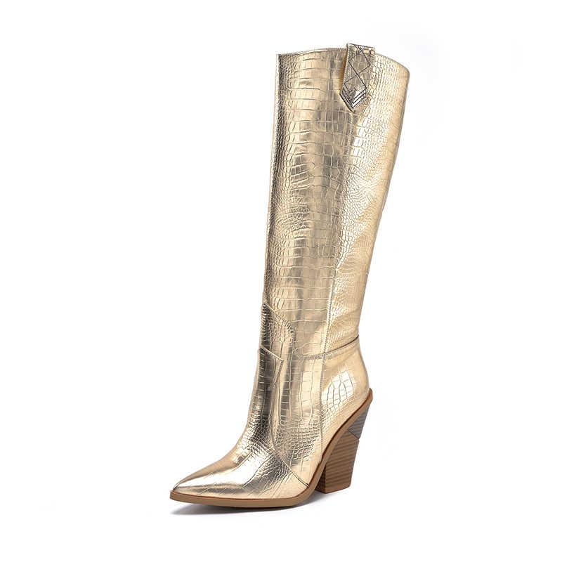 2019 Winter Nieuwe Goud zilver Knie hoge Laarzen Vrouwen Puntige Teen Spike Kitten hakken Winter Lange Hoge hakken Knight Laarzen cowboy laarzen