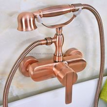 Antique Red Copper Bathroom Shower Faucet Bath Tub Faucet Mixer Tap With Hand Held Shower Head Set Bna318
