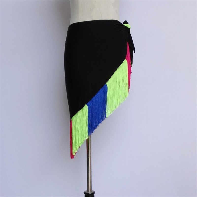 15 colores señora falda de baile latino para la venta rojo niños Cha/Rumba/Samba/Tango vestidos para práctica de baile/Ropa de baile Performamnce