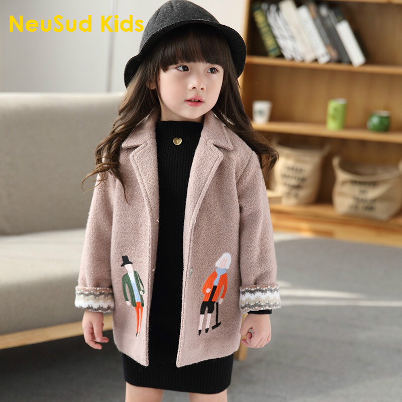 цена New 2017 Autumn Winter Baby Girls Coat Kids Thicken Jackets Children Caroon Embroidery Woolen Coat Toddler Overcoat,2-8Y,#2197