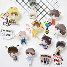 4PCS Cartoon boy Icons Acrylic Badges for Backpack Clothes Plastic Badge Kawaii Pin brooch