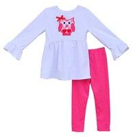 ילדים חמודים חמה למכירה סטי בגדי בעלי חיים ינשוף רקמה לפרוע למעלה Soild צבע צועד מהדורה מחודשת בוטיק בנות חליפות מלאה V019