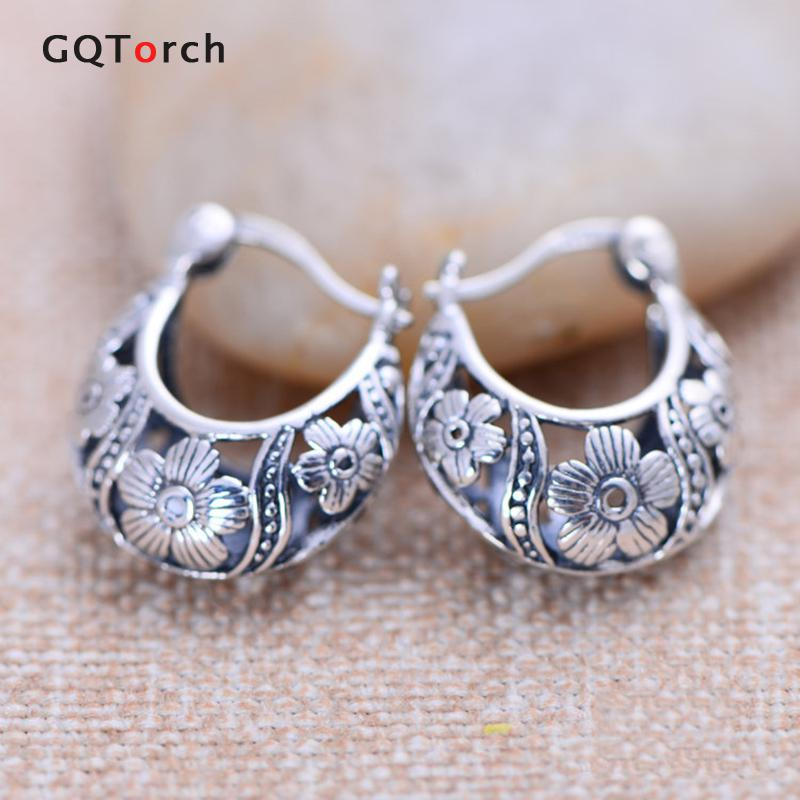 Vintage Real 925 Sterling Silver Earrings For women Basket Shaped Hollow Flower Design Brincos Fine Jewelry vintage hollow out flower anklet for women