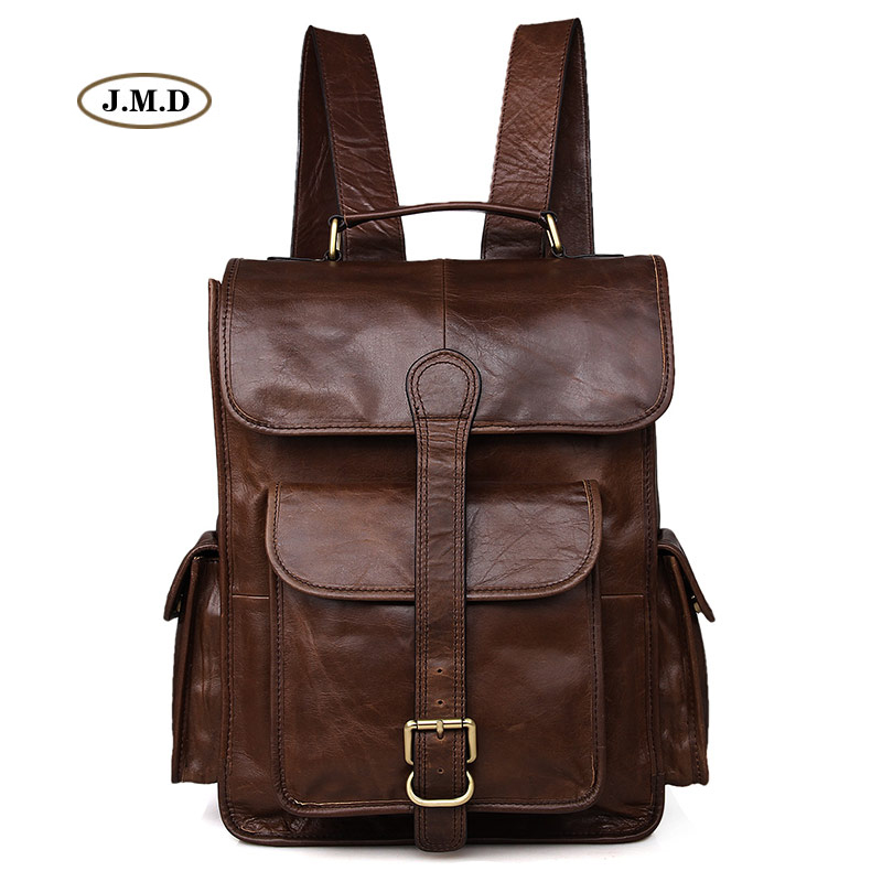 Фото J.M.D Genuine Cow Leather Coffee Color Causal Large Capacity Backpack Travel Rucksack Fashion Schoolbag Laptop Bag 7283C-1