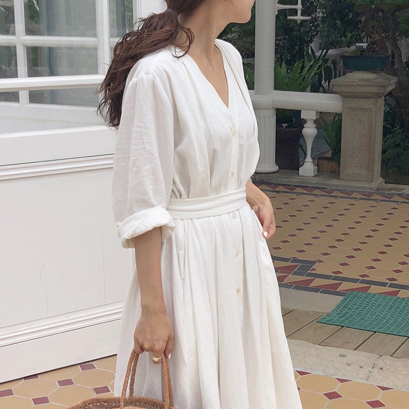 Korean Women Casual Dress Solid Ankle-Length Autumn Party Dress Vestidos Cute Clothing Office Lady Fold Loose Belt Dress 2
