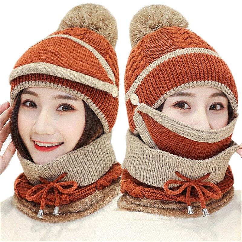 Comprar Otoño Invierno de las mujeres sombrero gorras de punto de lana  caliente conjuntos de bufanda gruesa a prueba de viento a prueba  pasamontañas Multi ... 48e099c0b40