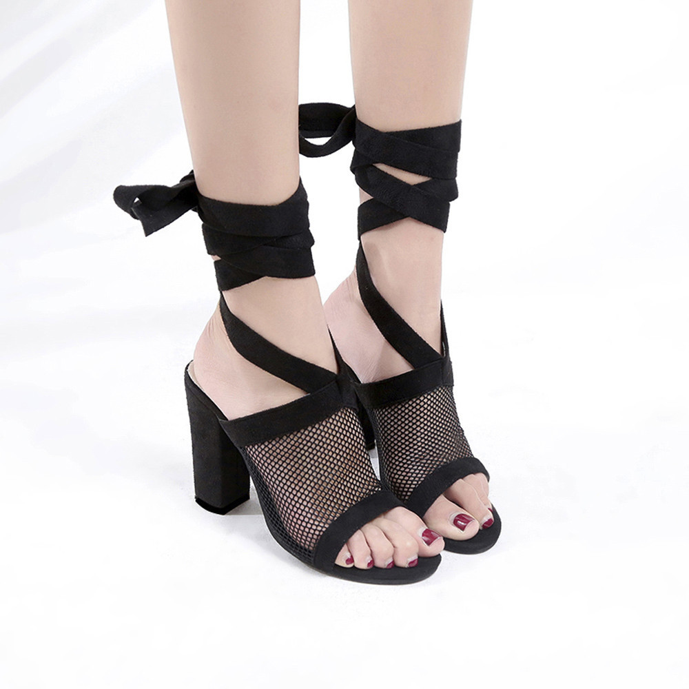 Women Ladies Tie Lace Up Sandals Ankle Mesh High Heels Block Party Shoes ...