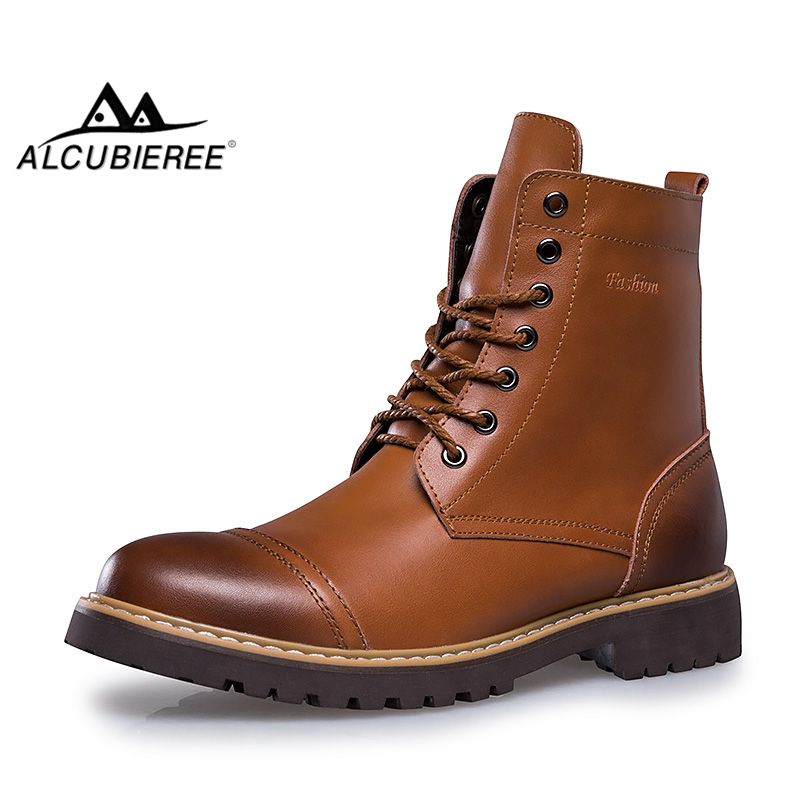 ALCUBIEREE Hot Genuine Leather Men Winter Boots Men's Lace-up Warm Fur Martin Boots Fashion Men Motorcycles Boots Ankle Botas