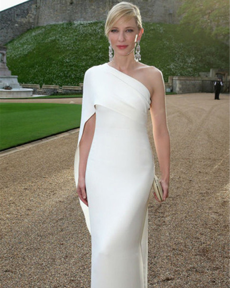 The 67th Cannes Film Festival Red Carpet Dress Cate Blanchett One Shoulder Ivory Celebrity Dresses Long Pleat Party Dress(China)