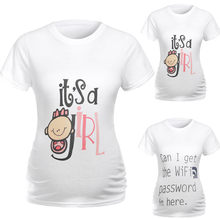 Female pregnant women lactating solid color summer clothes pregnant women short-sleeved round neck cartoon print shirt 2019 new(China)