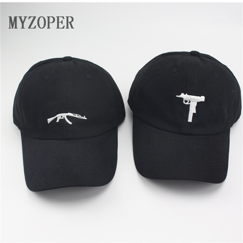 Mac-10 Uzi Gun 6 Panel Embroidery Unconstructed Adjustable Dad Hat Baseball Cap