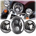 "7 Inch Motorcycle Daymaker LED Headlight + 2pcs 4-1/2"" Fog Lights for Harley Davidson LED Passing Lights  Lamp Projecotor"