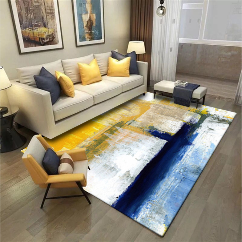Area Rug For Living Room European Abstract Art Oil Painting Blue