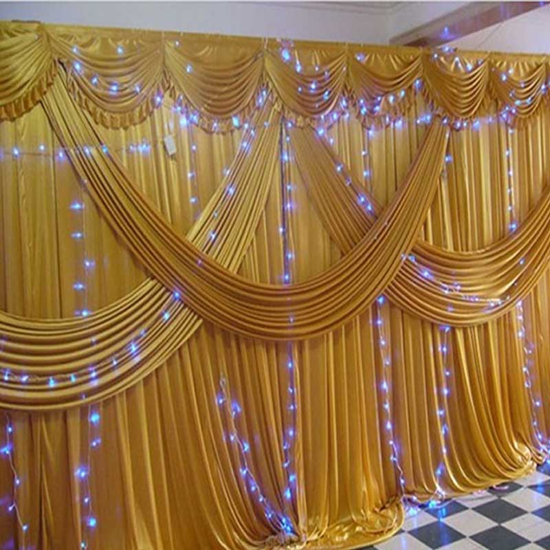 Buy gold stage wedding backdrops for for Background curtain decoration