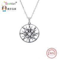 Hot Sale Pendant Authentic 100 925 Sterling Silver Necklace New Design Sun Pattern Pendants Chain Sterling