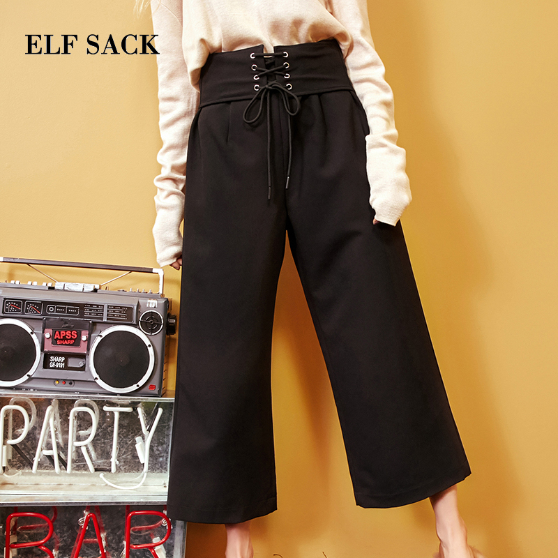 ELF SACK Autumn New Slim Women Pants Casual Loose Knitted Drawstring Ankle Length Pants Solid Straight