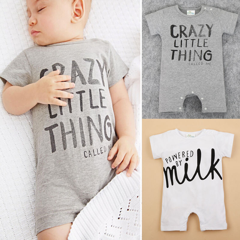 2016 Newborn Kids Baby Boy Girl Infant Cotton Letter Printing  Romper Jumpsuit Clothes Outfit  0-24M newborn infant baby girl clothes strap lace floral romper jumpsuit outfit summer cotton backless one pieces outfit baby onesie