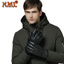 New Winter Gloves Men Long Real Leather Gloves Fur Cashmere Genuine Leather Wool Warm Gloves