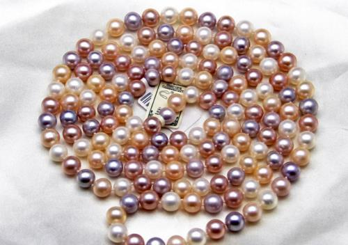 gorgeous 9-10mm freshwater round multicolor pearl necklace 46inch 925silver gold claspgorgeous 9-10mm freshwater round multicolor pearl necklace 46inch 925silver gold clasp