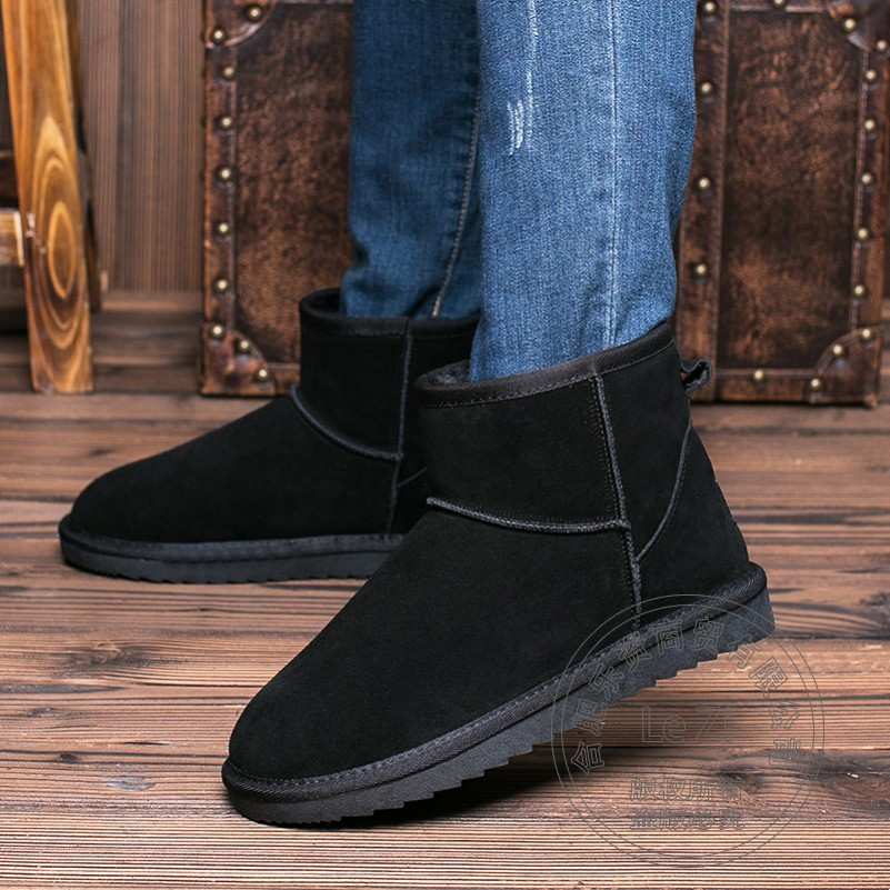 ФОТО High Quality Black Simple Pull On Round Toe Big Size Warmth Boots Men Shoes Winter Skidproof Matte Thread Ankle New Arrival