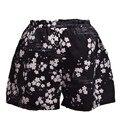 Girls Japanese Style Black Shorts Elastic Waist Sakura Print Short Pants