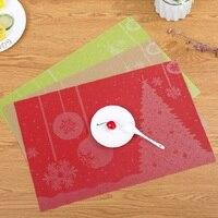 Modern Christmas Life 4 pieces Set Kitchen Table Mats Cotton PVC Table Napkin Snowflake Pattern Decorative Placemats