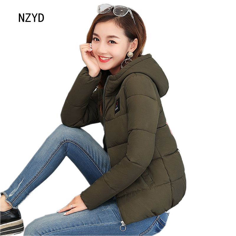 Winter Women Jacket 2017 New Fashion Hooded Thick Warm Print Short Female Coat Cute Long sleeve Slim Big yards Parkas LADIES272 women winter parkas 2017 new fashion hooded thick warm patchwork color short jacket long sleeve slim big yards coat ladies210