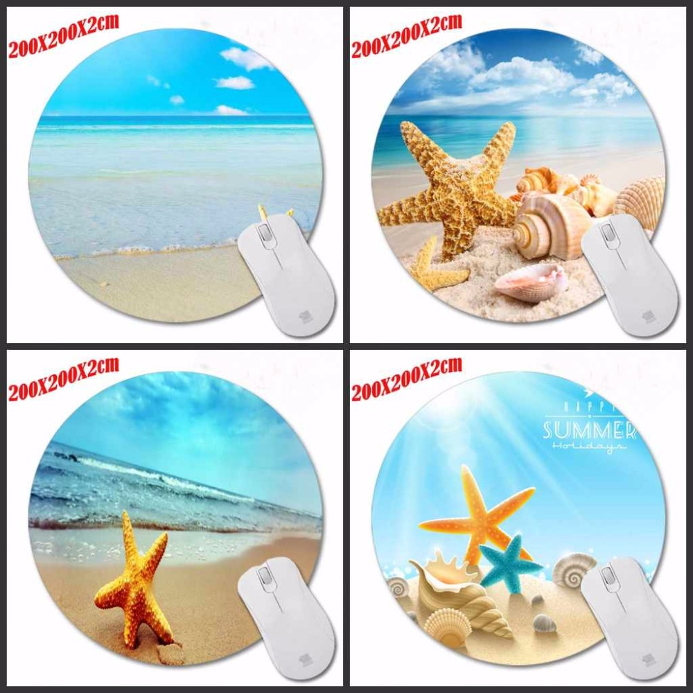 Seashells On The Beach New Design Modern Faux Desktop Pad Mousepads Computer Animation Round Mouse Mat Round Mice Pad