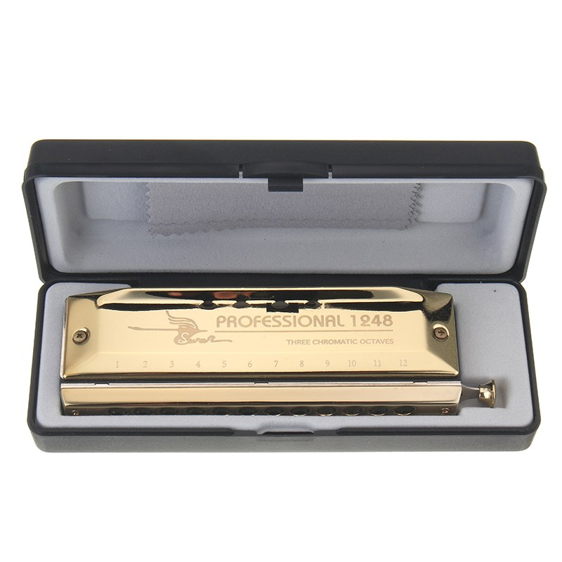 Hot 12 Holes 48 Tones Chromatic Gold Laser Proceeded Board Harmonica Music Musical Instrument Teaching Performing Accessory swan 16 holes 64 tones square shape chromatic harmonica silver color laser proceeded high end musical instrument accordion harps