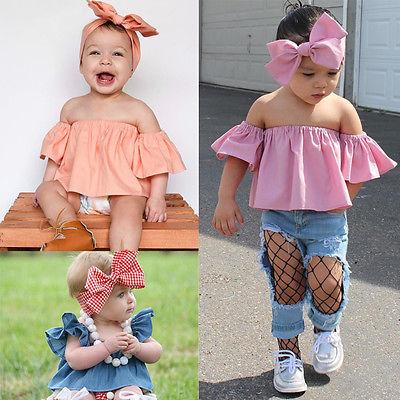 2017 Cute Toddler Kids Baby Girl T-shirt Off-shoulder Ruffles Tops  +Headband Summer Children Clothes 1-6Y 9d5c9b3008