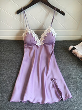 Lace Spaghetti Woman Silky Smooth Slips with Pads Negligee Camisole Women Full Slips Nightgown Dress Sexy Lingerie