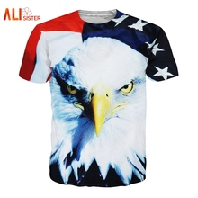 Alisister Animal Eagle T Shirt USA Flag Print 3d T-shirt Summer Men Women Casual Tees Large Size Funny Brand Clothing Dropship