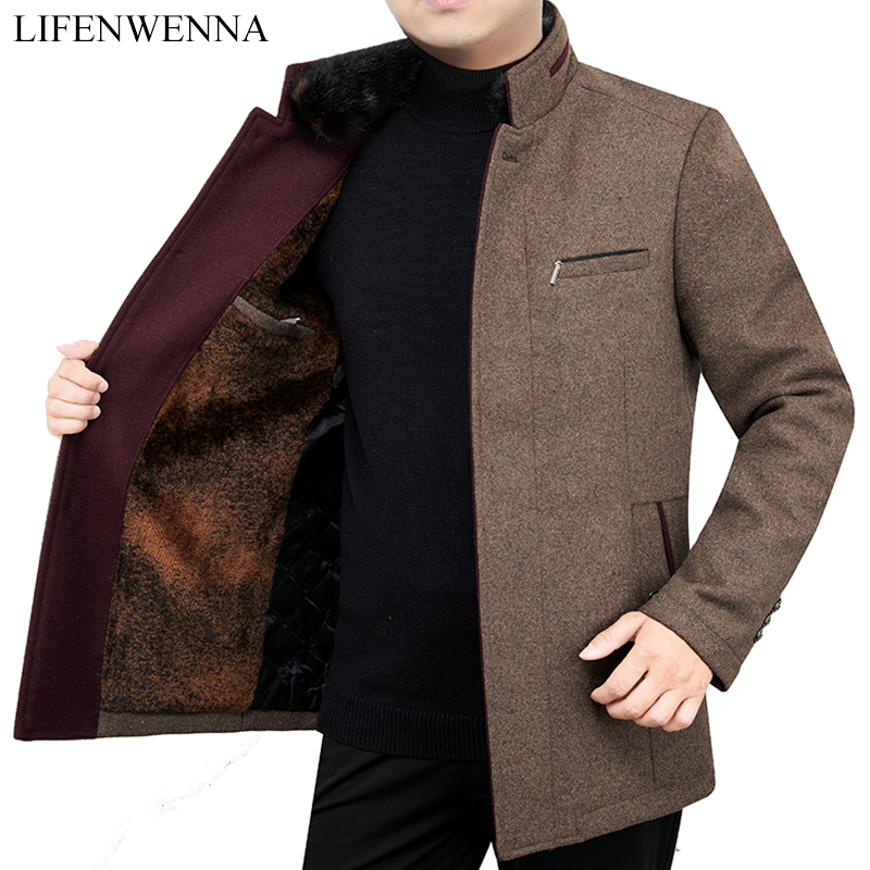 2019 Autumn Winter New Fashion Solid Warm Coat Men Slim Fit Wool Peacoat Warm Mandarin Collar Jackets Wool Blends Overcoat(China)