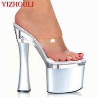Fashionable 18CM square heel slipper, summer transparent shoe upper, woman tall slipper, all sorts of color