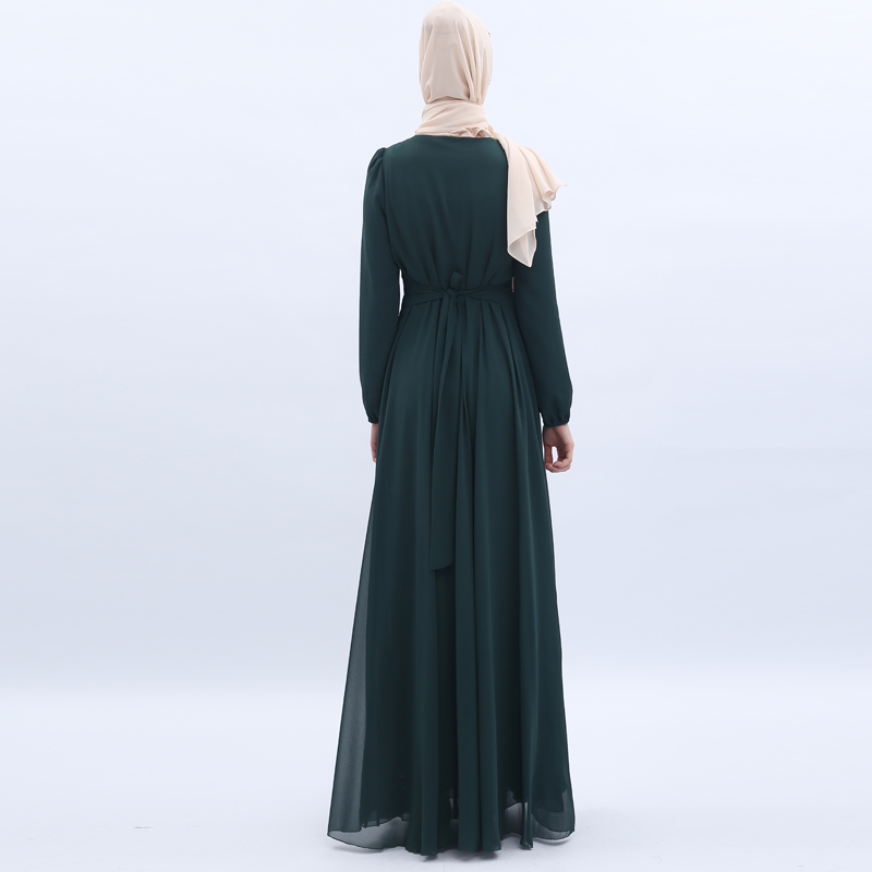 Chiffon Hijab Muçulmano Abaya Dubai Vestido Kaftan