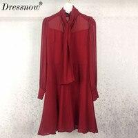 High Quality Spring Dresses Women Runway Womens Fashion Luxury Dress Red