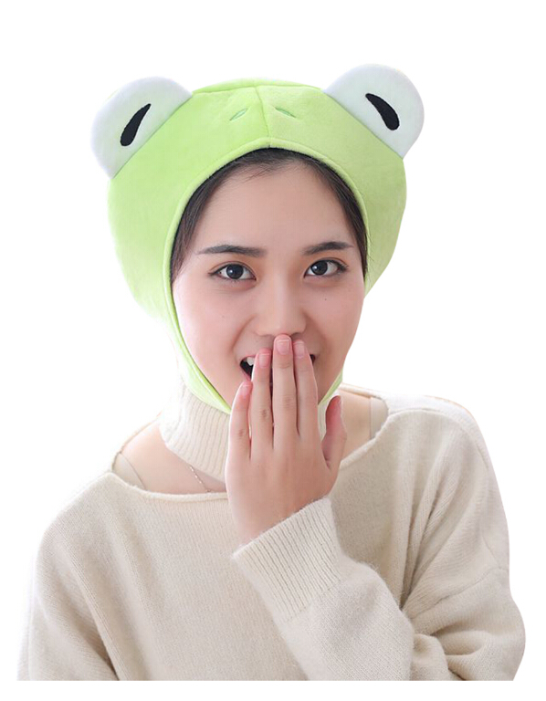 Animal Cap Frog Cosplay Props Accessories Plush Head Halloween Cosplay Party Animal Plush Head Cap Cute Green Hat Novelty & Special Use