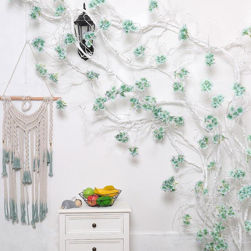 Guirlande fleurs décoration de mariage artificielle hortensia vigne fête plastique fleurs décoration murale rotin soie fleur glycine couronne