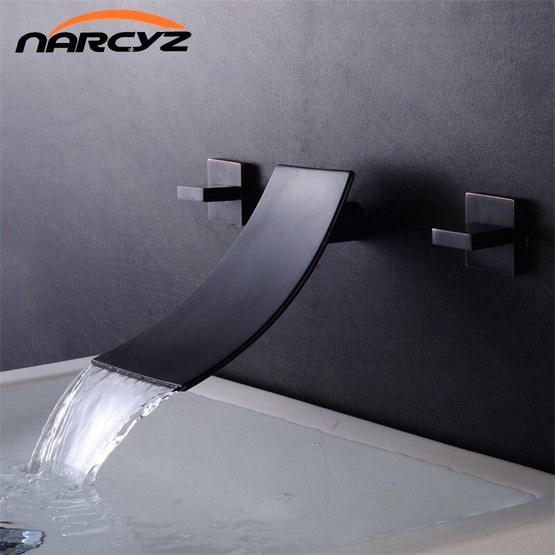 Basin Faucets Wall Mounted waterfall faucet Sink Basin Mixer Tap Faucet 3 Pcs Black Faucet Dual