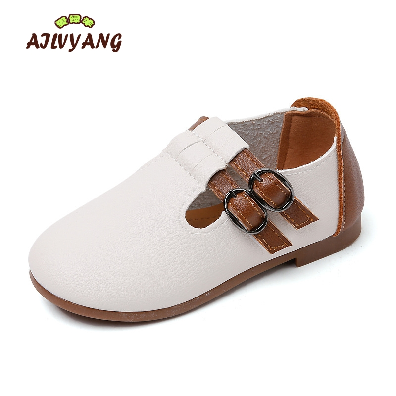 Children Spring Autumn Leather Shoes Baby Boys Leather Single Shoes Little Kids Casual Soft Bottom Flats Girls Hooks Flats