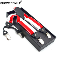 SHOWERSMILE Suspender Adult Elastic Striped Trouser Strap Red White Mens Braces Colorful 4 Clips Fashion Women 120cm