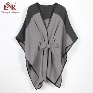 Image 4 - 2020 New Design Waistban Dess Winter Poncho for Women Ladies Cashmere Wool Ponchos Leather Hem Shawl Knitted Women Poncho Scarf