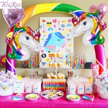 FENGRISE Rainbow Unicorn Party Decoration Aluminum Star Foil Balloons Set Kids Happy Birthday Wedding Supplies