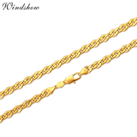 Wholesale 18K Real Gold Plated Round Necklace Women Men Jewelry 6 MM Wide Link Chain