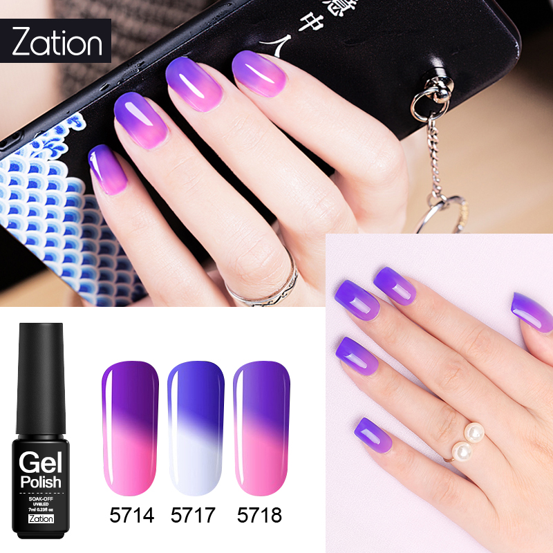 Zation Shimmer Thermo Gel Lacquer Glue Temperature Changing Colors Primer Gel Nail Polish Chameleon 29 Colors Manicure Varnish